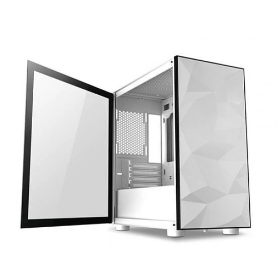 AIGO DarkFlash DLM21 Tempered Glass Micro ATX Case (White)